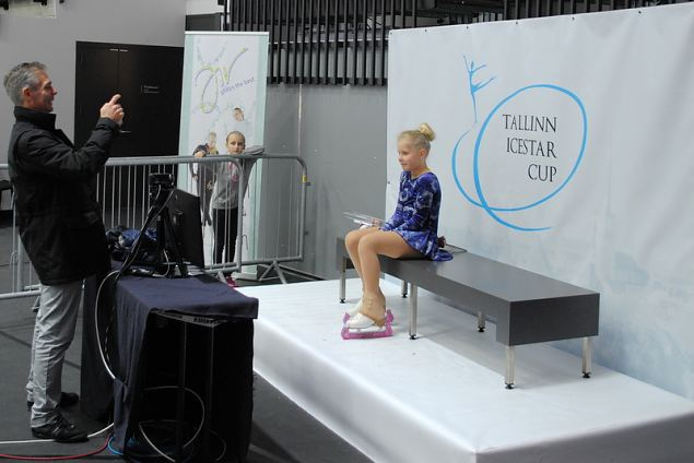 Linnea FLISBERG from Djurgarden KK SWE waiting for her marks in the kiss n cry